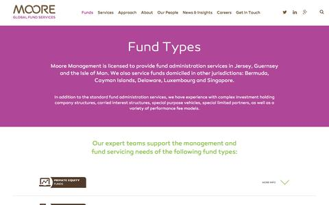 Screenshot of Case Studies Page mooremanagement.com - Moore | Global Fund Services : Fund Types - captured Feb. 14, 2016