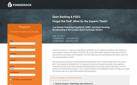 Screenshot of Landing Page forgerock.com - Open Banking & PSD2: Forget the Fluff, What Do the Experts Think? - captured June 23, 2017
