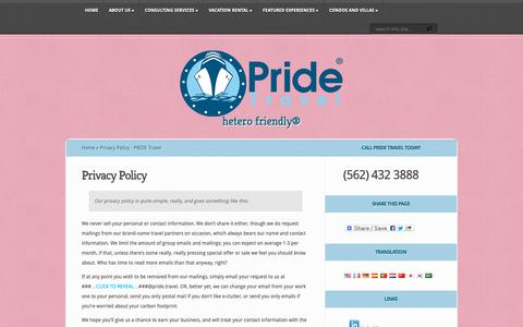 Screenshot of Privacy Page pride.travel - Privacy Policy - PRIDE Travel | PRIDE Travel - captured Sept. 29, 2018