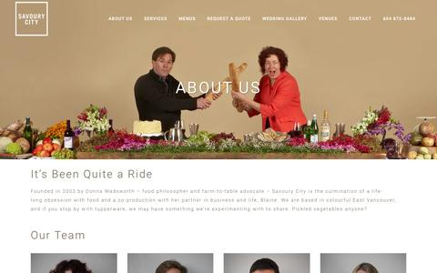 Screenshot of About Page savourycity.com - About Us | Savoury City Catering - captured Feb. 4, 2016