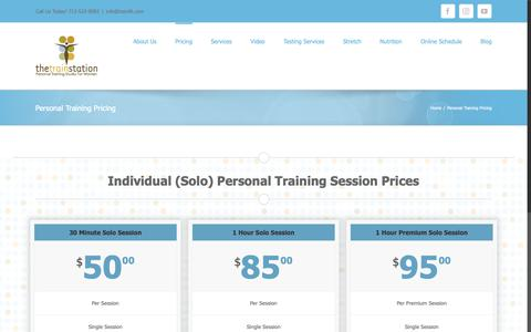 Screenshot of Pricing Page trainfit.com - Personal Training Pricing - The Train Station - captured Oct. 18, 2018