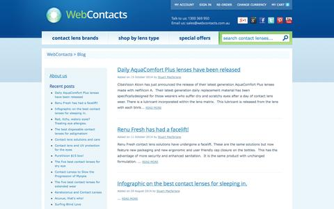 Screenshot of Blog webcontacts.com.au - Contact lens and Eyecare Blog - captured Oct. 26, 2014