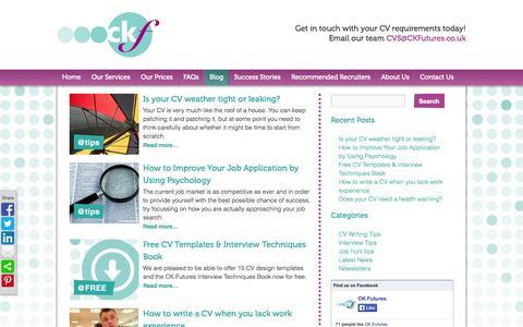 Screenshot of Blog ckfutures.co.uk - CV, Interview & Careers Resources and Tips    CK Futures - captured Sept. 26, 2014