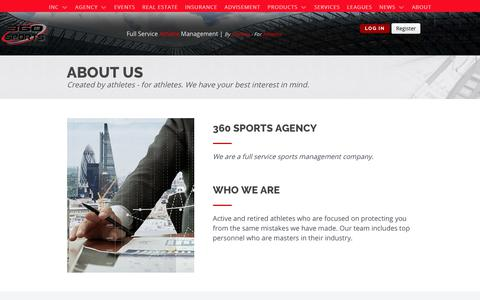 Screenshot of About Page 360sportsagency.com - ABOUT - captured Sept. 21, 2018