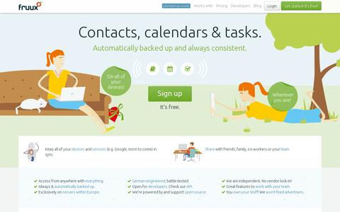 Screenshot of Home Page fruux.com - fruux   Contacts. Calendars. Tasks - On every device. - captured July 11, 2014