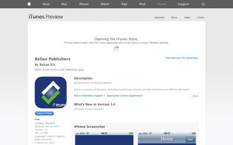 Screenshot of iOS App Page apple.com - Relian Publishers on the App Store on iTunes - captured Oct. 25, 2014