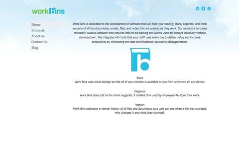 Screenshot of Home Page work-bins.com - Work Bins - captured Sept. 30, 2014