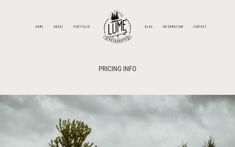 Screenshot of Pricing Page lumephotography.com - Prices - Lume Photography - captured Jan. 7, 2019