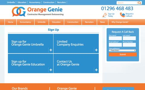 """Screenshot of Signup Page orangegenie.com - """"Sign Up -  Orange Genie, an award winning contractor management company, umbrella, accountancy and self employed solutions """" - captured Sept. 29, 2017"""