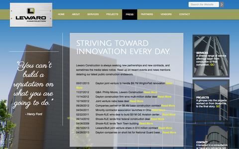 Screenshot of Press Page lewaro.com captured Oct. 8, 2014