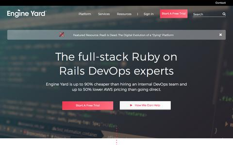 Screenshot of Home Page engineyard.com - Engine Yard - The Ruby DevOps Experts - captured April 7, 2018