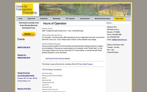 Screenshot of Hours Page contemprints.org - Hours of Operation - Center for Contemporary Printmaking - captured Oct. 2, 2014