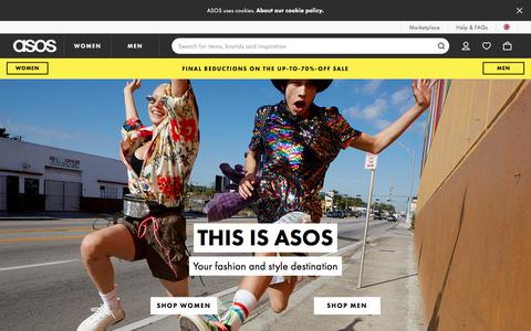 Screenshot of Home Page asos.com - ASOS | Online Shopping for the Latest Clothes & Fashion - captured Aug. 5, 2018