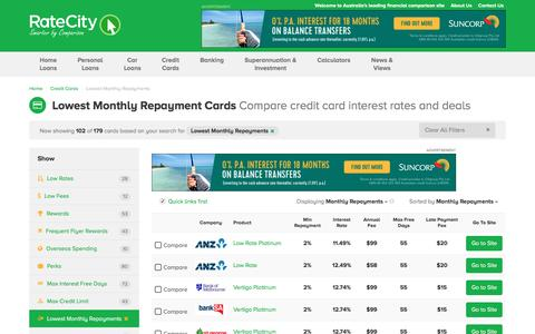 Top 2017 - Low Monthly Repayment Credit Cards | RateCity