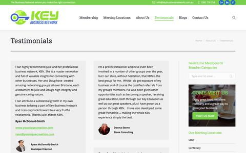 Screenshot of Testimonials Page keybusinessnetwork.com.au - Video Testimonials - Key Business Network - captured Sept. 20, 2018