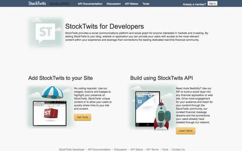 Screenshot of Developers Page stocktwits.com - StockTwits for Developers - captured Sept. 17, 2014