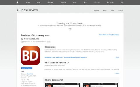Screenshot of iOS App Page apple.com - BusinessDictionary.com on the App Store on iTunes - captured Oct. 29, 2014