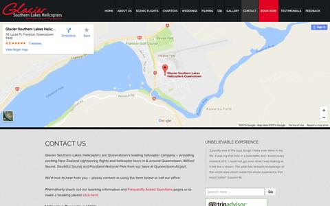 Screenshot of Contact Page glaciersouthernlakes.co.nz - Contact Us   Glacier Southern Lakes Helicopters Queenstown NZ - captured Nov. 7, 2016