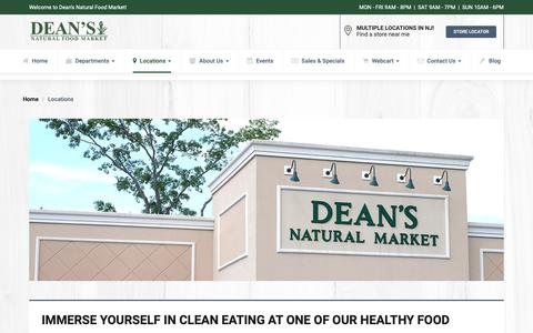 Screenshot of Locations Page deansnaturalfoodmarket.com - Store Locator | New Jersey | Dean's Natural Food Market - captured Nov. 6, 2018