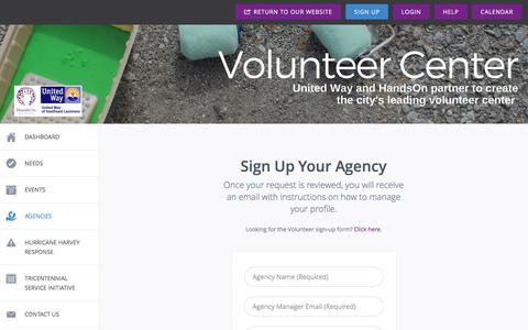 Screenshot of Signup Page handsonneworleans.org - Agency Signup | Hands On New Orleans - captured July 16, 2018