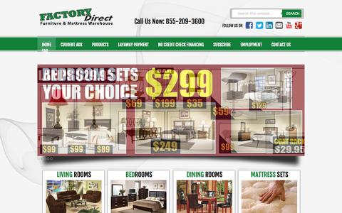 Screenshot of Home Page myfdf.com - Factory Direct Furniture - captured Oct. 5, 2014
