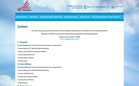 Screenshot of Jobs Page airindus.com.pk - Welcome to Air Indus Airline (PVT) Ltd. - captured Oct. 31, 2014