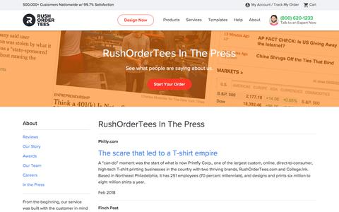 Screenshot of Press Page rushordertees.com - About the Team at RushOrderTees™ - captured Aug. 4, 2019
