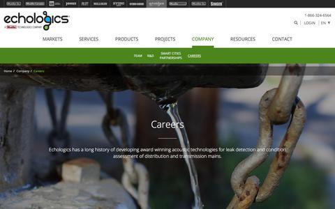 Screenshot of Jobs Page echologics.com - Careers - Echologics - captured July 16, 2018