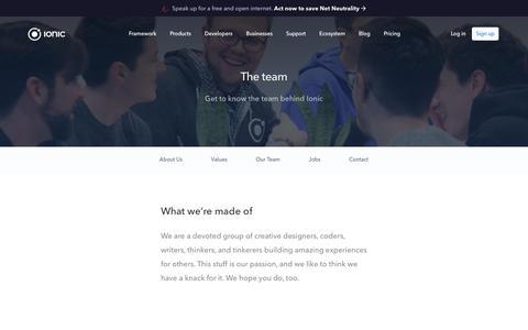 Screenshot of Team Page ionicframework.com - Ionic Framework - Team - captured Dec. 7, 2017