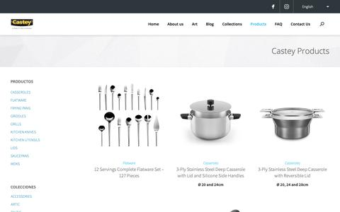 Screenshot of Products Page castey.com - Castey Castey Cookware Catalogue. Pots, Pans and Kitchen Utensils - Castey - captured Oct. 26, 2018