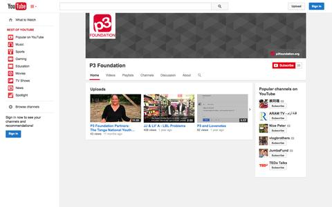 Screenshot of YouTube Page youtube.com - P3 Foundation  - YouTube - captured Oct. 22, 2014