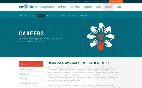 Screenshot of Jobs Page ensighten.com - Careers | Ensighten - captured July 19, 2014