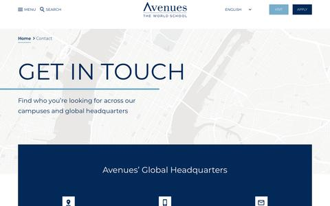 Screenshot of Contact Page avenues.org - Avenues | Contact - captured Feb. 22, 2020