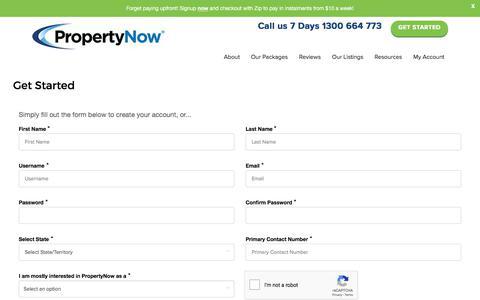 Screenshot of Signup Page propertynow.com.au - Get Started - captured Jan. 21, 2020