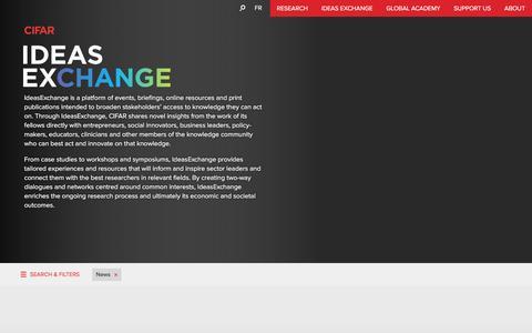 Screenshot of Press Page cifar.ca - Ideas Exchange : CIFAR - captured Jan. 24, 2016