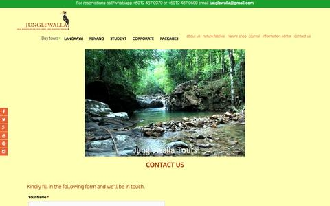 Screenshot of Contact Page junglewalla.com - contact us information junglewalla tours langkawi malaysia - captured April 4, 2017