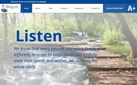 Screenshot of Home Page care-elderspecialist.com - Elder Care Management - Overlook CARE - captured Jan. 29, 2015