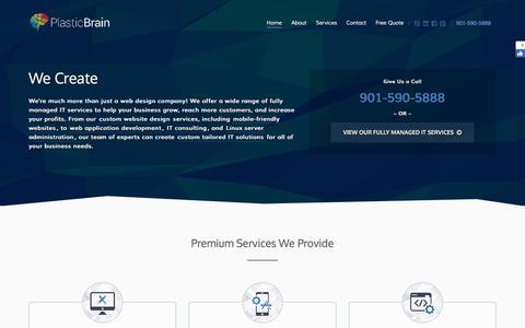 Screenshot of Home Page plasticbrain.net - Custom Web Designs, Mobile Websites, and Web Applications - captured Nov. 8, 2016