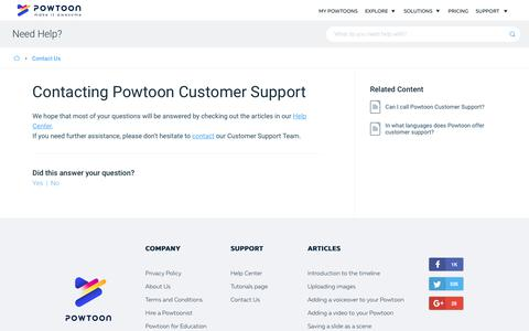 Screenshot of Contact Page powtoon.com - Contacting Powtoon Customer Support -  PowToon  Knowledge Base - captured April 1, 2018