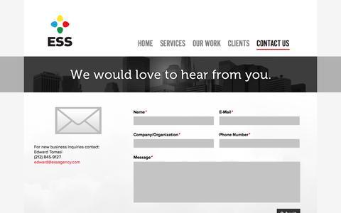 Screenshot of Contact Page essagency.com - ESS Agency - captured Sept. 26, 2014