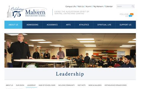 Screenshot of Team Page malvernprep.org - Leadership - captured Oct. 4, 2017