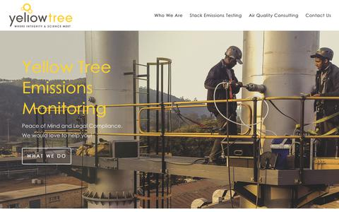 Screenshot of Home Page yellowtree.co.za - Emissions Testing by Yellow Tree | Where Science and Integrity meet - captured Oct. 18, 2018