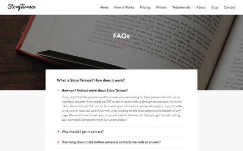 Screenshot of FAQ Page storyterrace.com - FAQs   Story Terrace - captured Oct. 20, 2018
