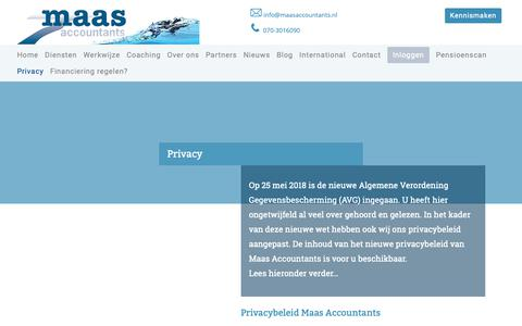 Screenshot of Privacy Page maasaccountants.nl - Privacy - Maas Accountants - captured Oct. 1, 2018