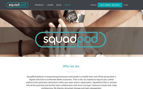 Screenshot of About Page squadpod.com - Collaboration Software Company Based in Scottsdale | SquadPod - captured Sept. 22, 2018