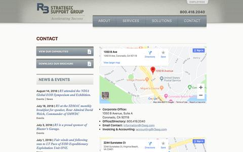 Screenshot of Contact Page r3ssg.com - Contact – R3 Strategic Support Group - captured Aug. 9, 2019