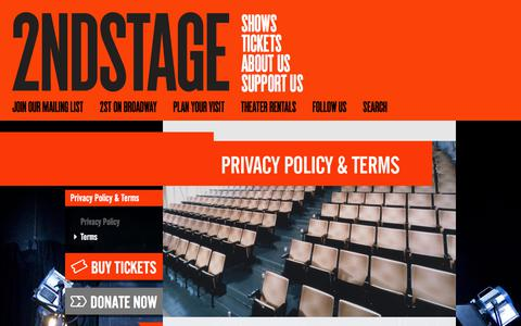 Screenshot of Terms Page 2st.com - 2econd Stage Theater - captured Oct. 5, 2017