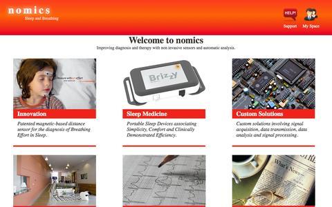 Screenshot of Home Page nomics.be - Nomics ∴ Nomics - Sleep and Breathing - captured Sept. 26, 2014