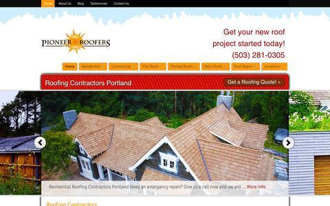 Screenshot of Home Page pioneerroofers.net - Roofing Contractors Portland | Pioneer Roofers - captured Sept. 19, 2015