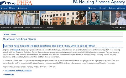 Screenshot of FAQ Page phfa.org - Customer Solutions Center - captured Sept. 24, 2018